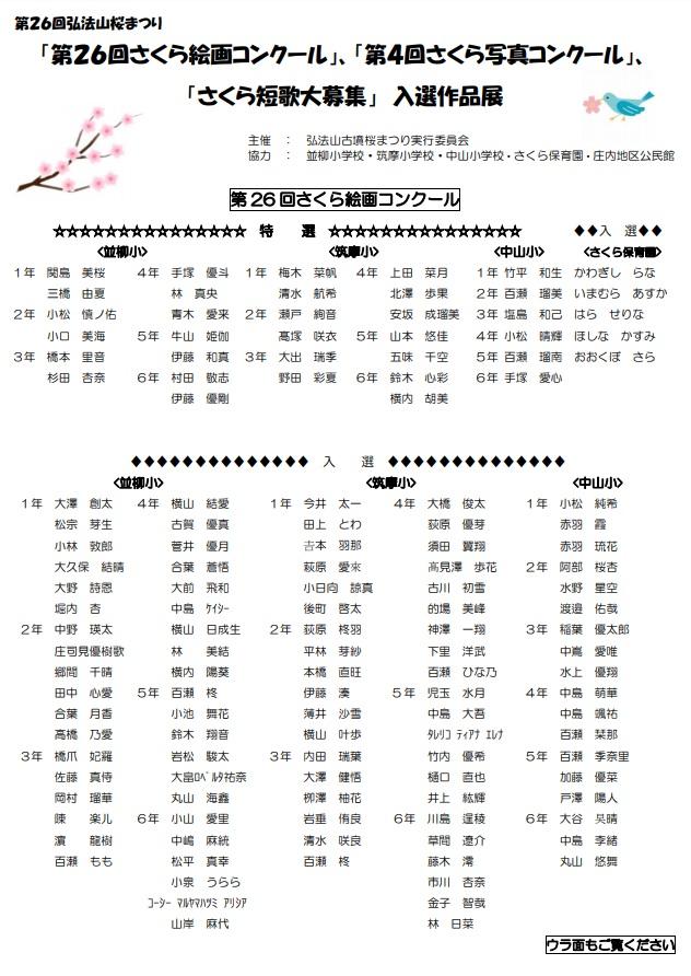26回弘法山古墳桜まつり入選作品展について